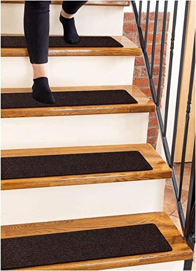 Carpet Stair Treads Non Slip 8 X30 Brown 15 Pack Runners For | Average Price To Carpet Stairs | Rubber Stair | Wood | Stair Nosing | Wood Flooring | Hardwood
