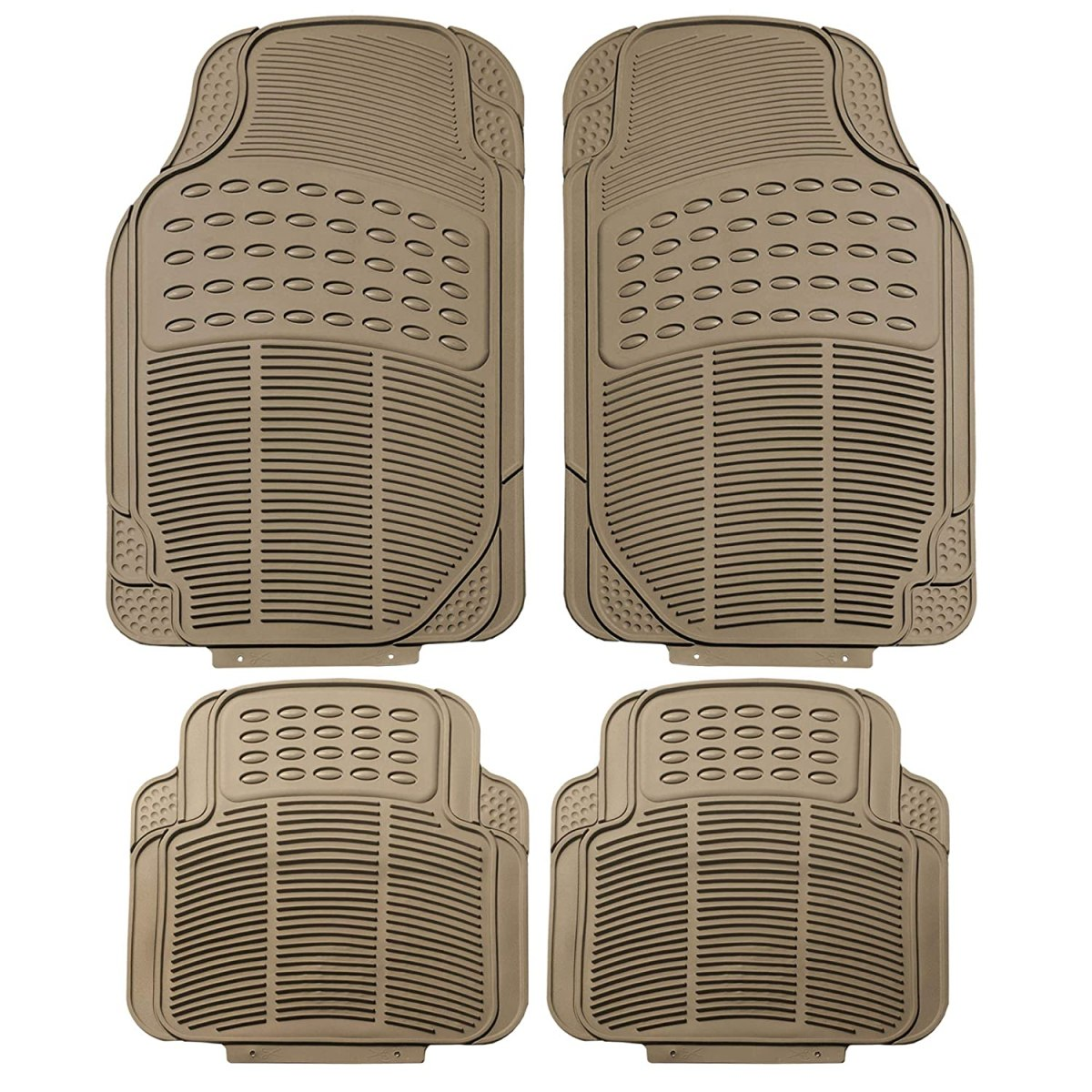 Best Floor Mats Reviews FH Group F11305BEIGE Tan All Weather Floor Mat, 4 Piece (Full Set Trimmable Heavy