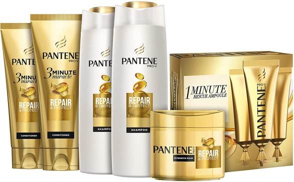 Pantene Pro-V 3 Months Rescue Kit Repair and Protect For Damaged Hair,2 Shampoos, 2-3 Minute Miracle Conditioner, 1 Masque, 1 Ampoule Box
