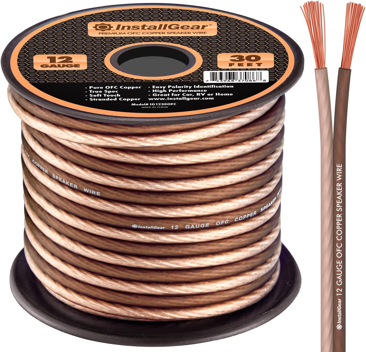 Amazon Com Installgear 12 Gauge Speaker Wire 99 9 Oxygen Free Copper True Spec And Soft Touch Cable 30 Feet
