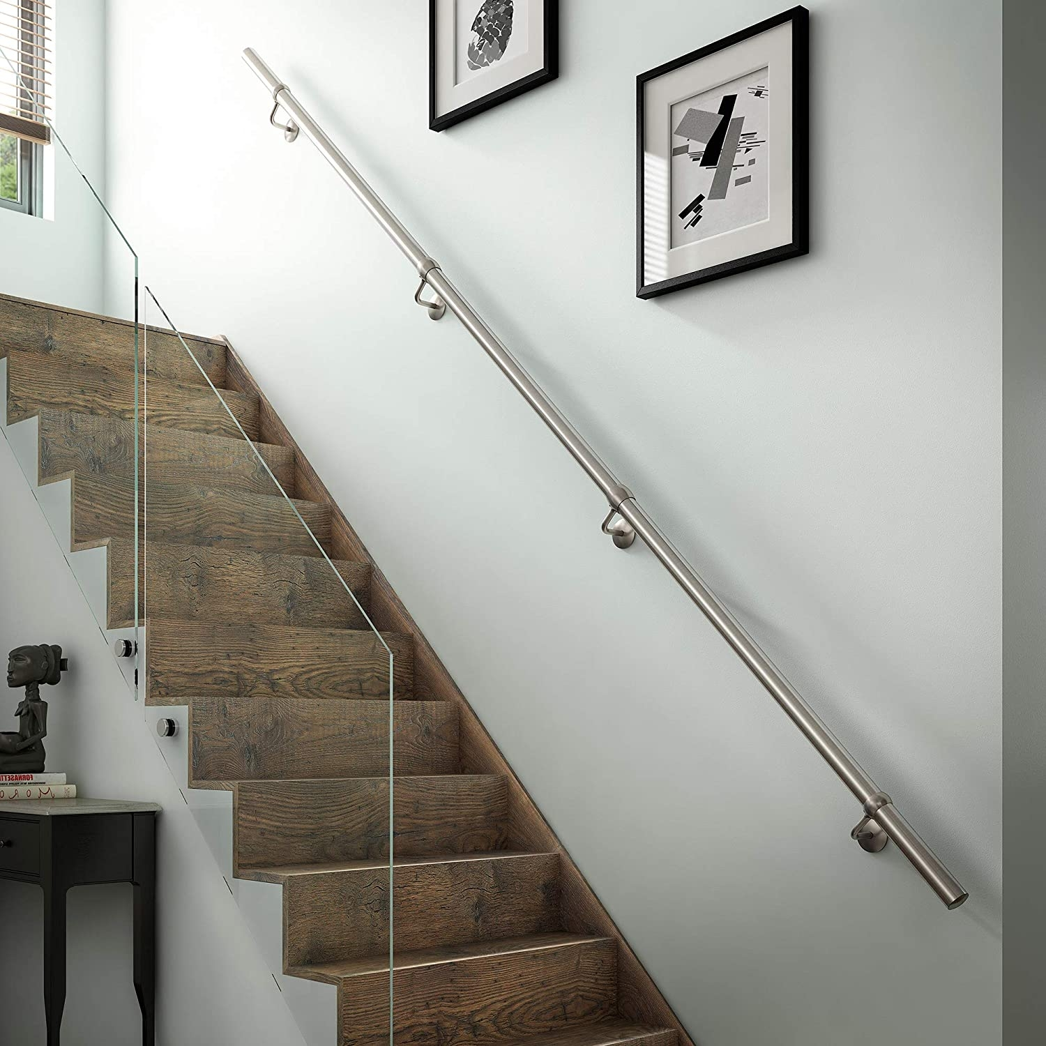 Stairs Staircase Handrail Banister Rail Support Kit 3 6M Satin   Modern Banisters And Handrails   Oak   Minimalist Simple Stair   Modern Style   String   Grey