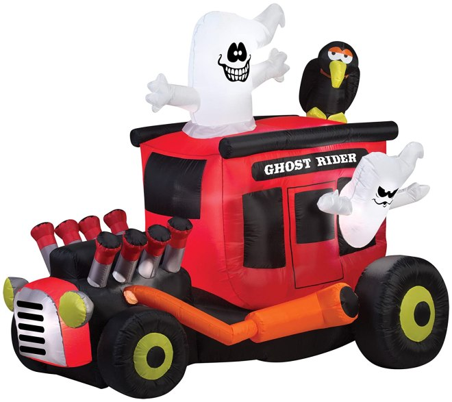 Gemmy Inflatable Animated Ghost Rider Hot Rod with Crow