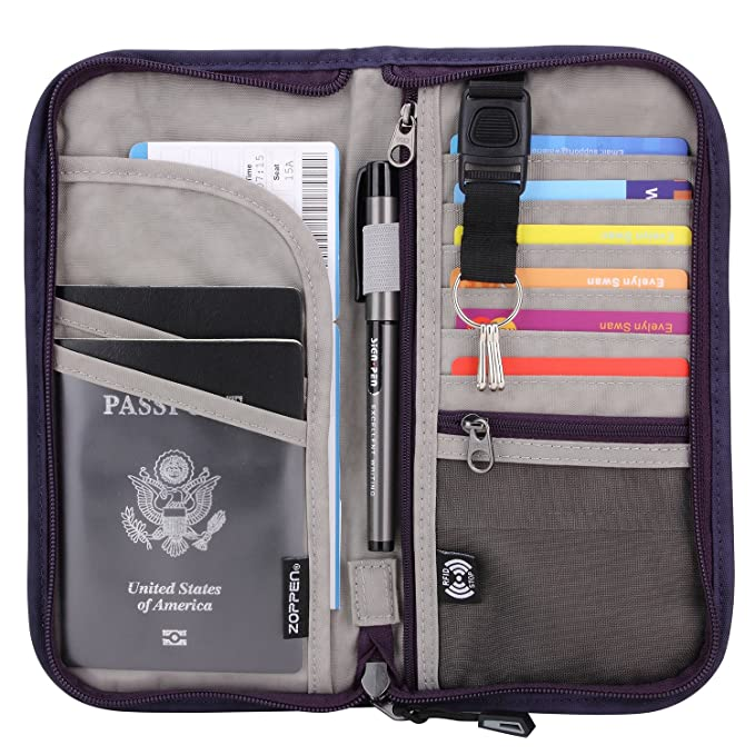 Zoppen RFID Travel Passport Wallet & Documents Organizer Zipper Case with Removable Wristlet Strap, Purple