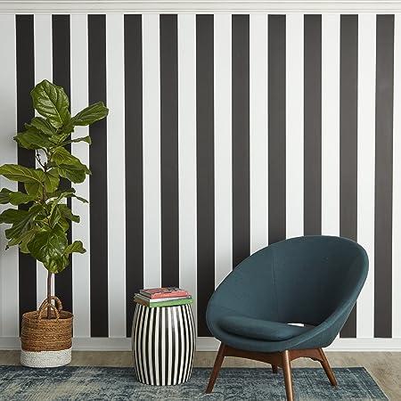 Tempaper St525 Stripe Black White Self Adhesive Removable Wallpaper Black White Amazon Co Uk Diy Tools