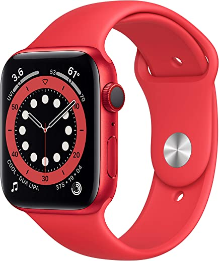 New AppleWatch Series 6 (GPS + Cellular, 44mm) - (Product) RED - Aluminum Case with (Product) RED - Sport Band