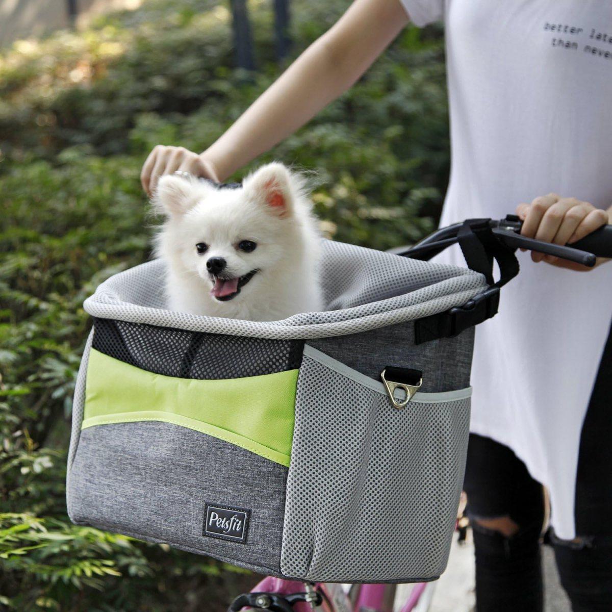 Petsfit Portabicicletas de bicicleta, Portabicicletas para perros con bolsillos pequeños, Portabicicletas Portabicicletas pequeño con correa de hombro, 29cm x 21cm x 30cm, Verde y Gris
