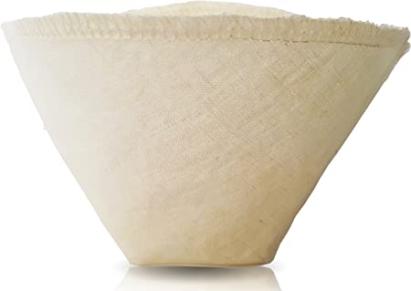 Cloth Reusable Cone Coffee Filter (Size #2) - Made in Canada of Hemp and Organic Cotton - Zero Waste, Eco-Friendly, Natural Filter for Drip Coffee Makers