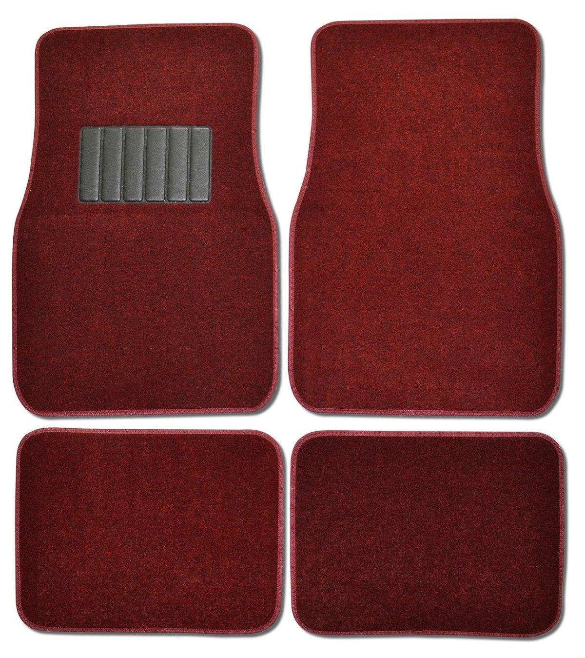 Best Floor Mats Reviews BDK MT-100-BD Burgundy Red Carpeted 4 Piece Car SUV Floor Mats With Vinyl Heel Pad Car Vehicle Universal Fit