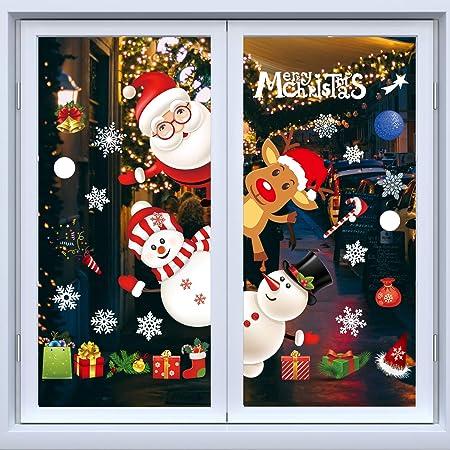 White Christmas Decorations Christmas Window Clings Xmas Window Decorations Christmas Window Stickers Decorations For Christmas Window Display Multicolour2 Amazon Co Uk Kitchen Home