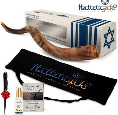 "HalleluYAH Shofar From Israel: 20""- 24"" Half Polished Kudu Horn   Yemenite Shofar with Carry Bag, Anti-odor Spray, Clean Brush, Shofar Guide,"