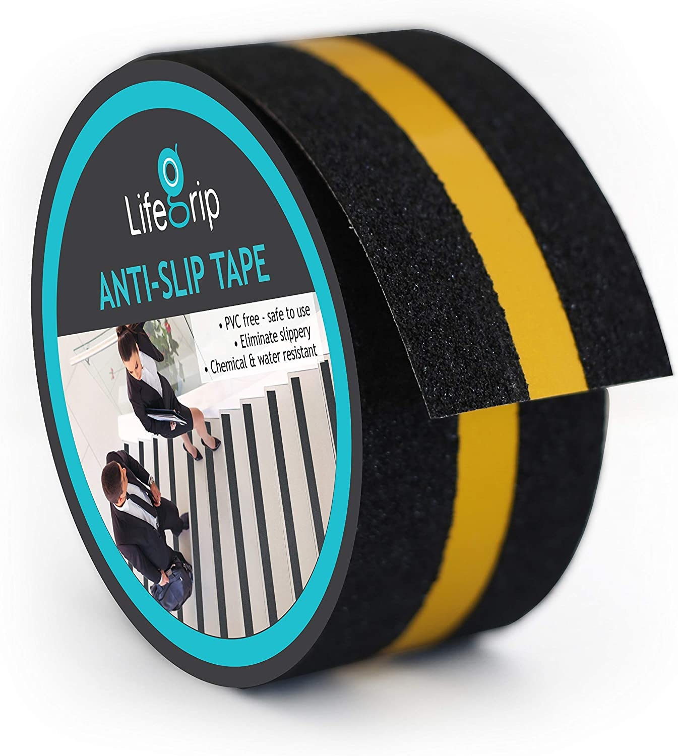 Lifegrip Anti Slip Traction Tape With Reflective Stripe Best Grip | Reflective Tape For Outdoor Steps | Hazard Warning Tape | Yellow | Self Adhesive | Retro Reflective | Concrete Steps