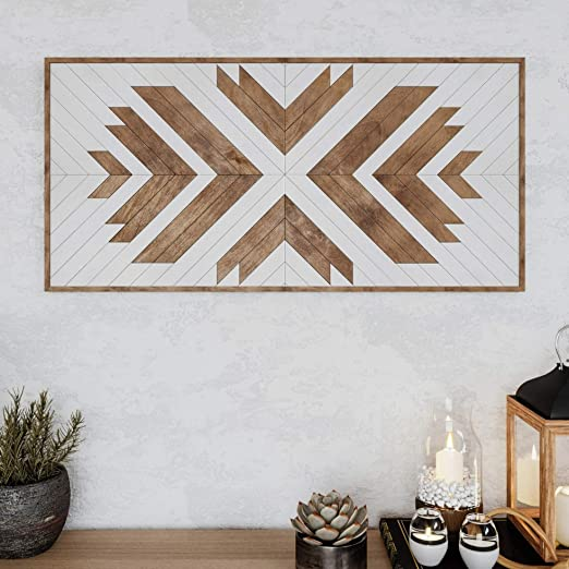 Amazon Com Other Furniture Native Wood Wall Art Farmhouse Wood Wall Panel Wood Wall Art Geometric Rustic Wood Wall Hanging Boho Wooden Wall Art Home Kitchen