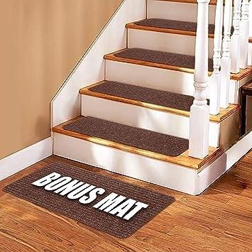 Stair Treads Carpet 14 Non Slip Carpet Stair Treads Double | Stair Treads For Carpeted Stairs | Wood Stairs | Laminate | Anti Slip Stair | Basement Stairs | Skid Resistant
