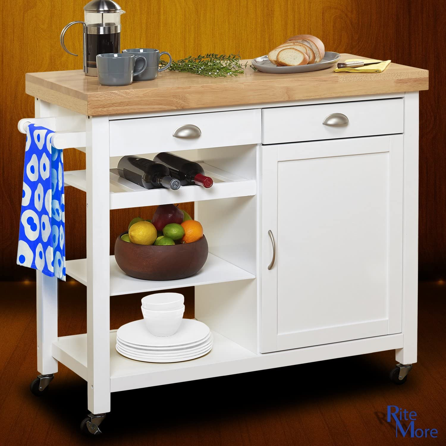 Amazon Com Large White Rolling Movable Kitchen Island On Wheels With Breakfast Bar Wine Rack And Storage