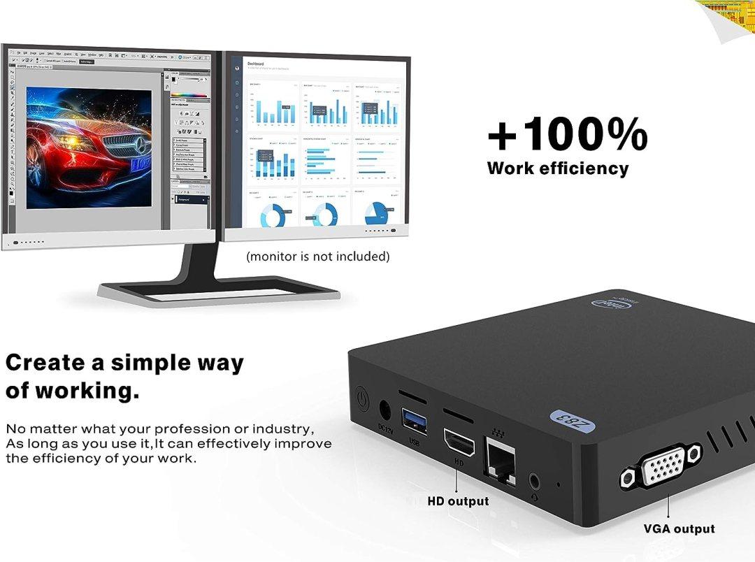 SeeKool Z83-V Mini PC Computer, Windows 10 4Go RAM 64 Go ROM, Intel Atom x5-Z8350 Processeur, 4K HD Graphiques 400, Ports HDMI et VGA, Ethernet 1000Mbps, Wi-FI 2.4 GHz / 5.8 GHz, BT 4.0 /USB 3.0