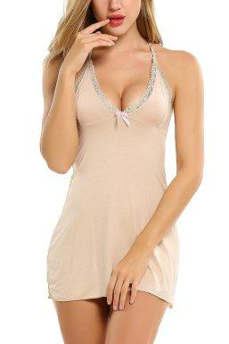 Avidlove Sleepwear Womens Full Slip Chemise Nightie Lace Babydoll Dress Apricot