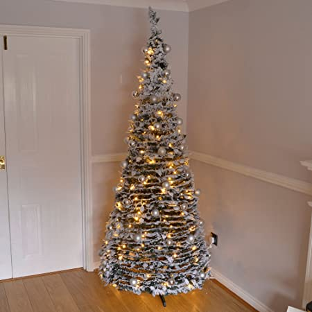 7ft Large Quick Pop Up Christmas Tree Pre Decorated With 200 Warm White Led Lights