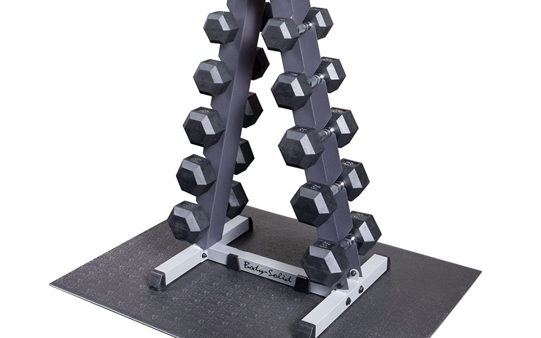 Body Solid GDR44-RFWS Vertical Dumbbell Rack with Rubber Dumbbells