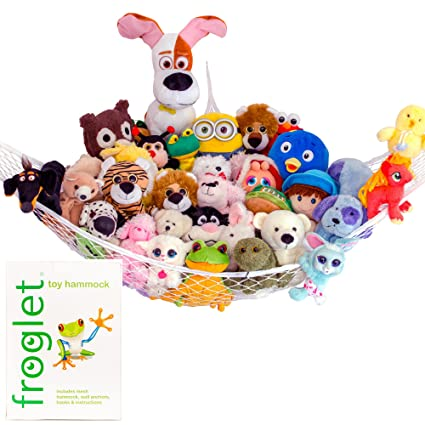 organize stuffed animals by hanging them up in a hammock