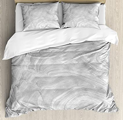 Ambesonne Marble Duvet Cover Set Queen Size Traditional Monochromatic Japanese Style Paperlike Pattern Natural Retro