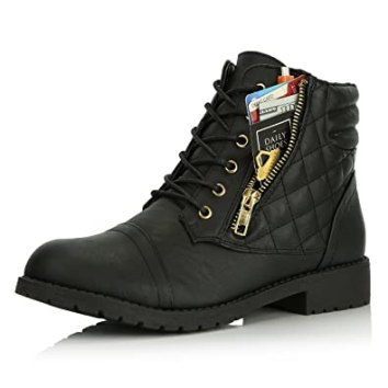 Image result for DailyShoes Women's Military Lace up Buckle Combat Boots Ankle High Exclusive Quilted Credit Card Pocket Bootie