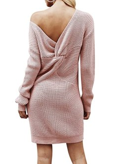 BerryGo Women's Casual Long Sleeve Off The Shoulder Knitted Sweater Mini Dress Dusty Pink,One Size