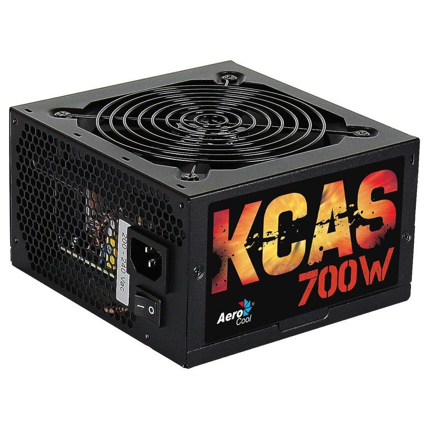Aerocool KCAS-700W - Fuente de alimentación (700W, 115 - 230V, 47 - 63 Hz, 12 cm, Superior, 20+4 pin ATX) Negro