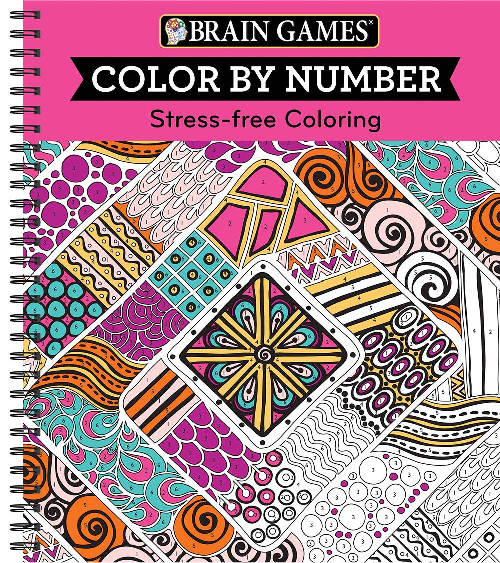 Amazon Com Brain Games Color By Number Stress Free Coloring Pink 9781680227727 Publications International Ltd Brain Games Books