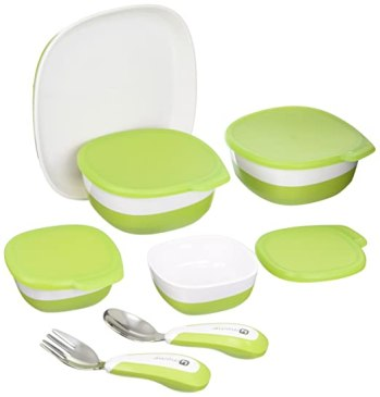 4moms high chair magnetic plate, bowls and utensils feeding set - dishwasher safe