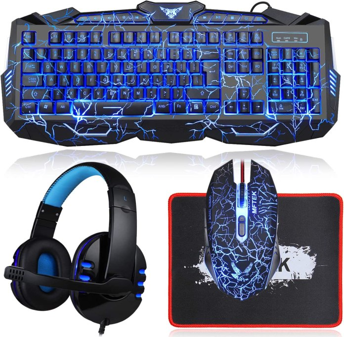 Amazon Com Gaming Keyboard And Mouse Combo With Headset Mftek Crack Backlit 3 Colors Keyboard Wired Gaming Mouse Lighted Gaming Headset With Microphone Set 50mm Speaker Driver Mouse Pad For Pc Games