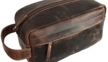 5b36f970bc13 KomalC Genuine Unisex Vanity Leather Dopp kit - Travel Toiletry Bag ...
