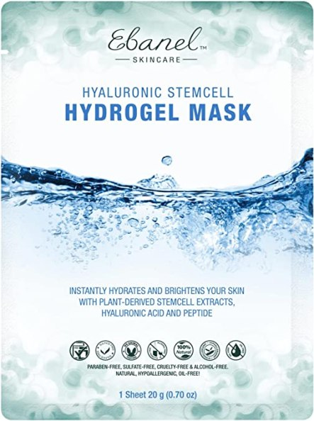 5 Stem Cell Hydro Gel Masks with Collagen Hyaluronic Acid Peptide and Stem Cell Extracts (5 Sheet, Stem Cell Hydro Gel Mask)