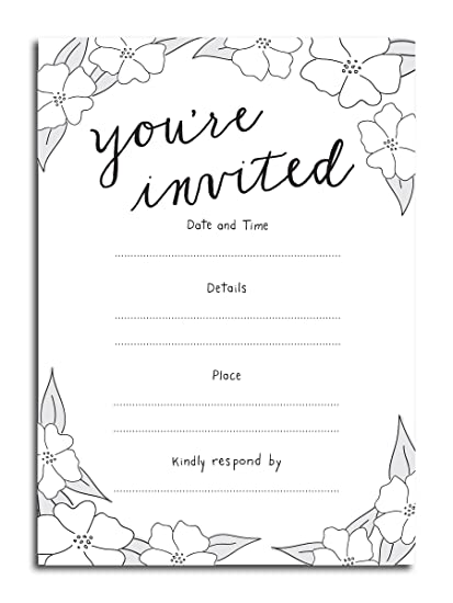 Com You Re Invited Vintage Fill In Invitations 25 5x7 Cards With Envelopes All Occasions Wedding Bridal Shower Birthday