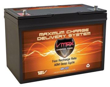 VMAX MR127 12 Volt 100Ah AGM Deep Cycle Maintenance Free Battery for boats and 40-100lb minn kota, minnkota, cobra, sevylor and other trolling motor