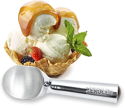 Zeroll 1012 Original Ice Cream Easy Scoop with Unique Liquid Filled Heat Conductive Handle Simple One Piece Aluminum Design Easy Release 24 Scoops per Gallon Made in USA, 3-Ounce, Silver