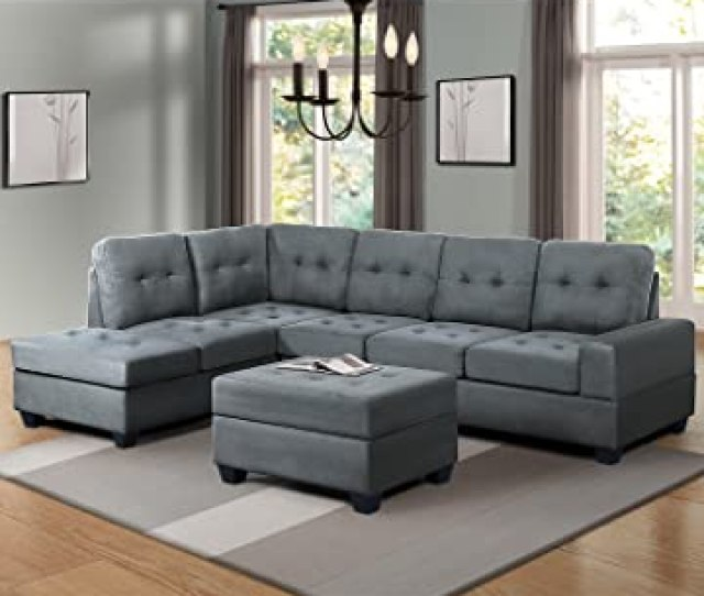 Harper Bright Designs 3 Piece Sectional Sofa Couch Microfiber With Reversible Chaise Lounge Storage Ottoman