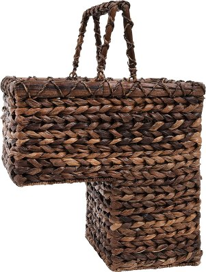 Creative Co-op BacBac Leaf Woven Stair Basket with Handles