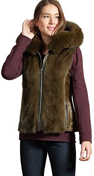 Image result for overland Trudy Hooded Calfskin Fur Vest with Mink and Fox Fur Trim