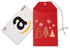 Amazon.com $25 Gift Card in a Red Holiday Gift Tag
