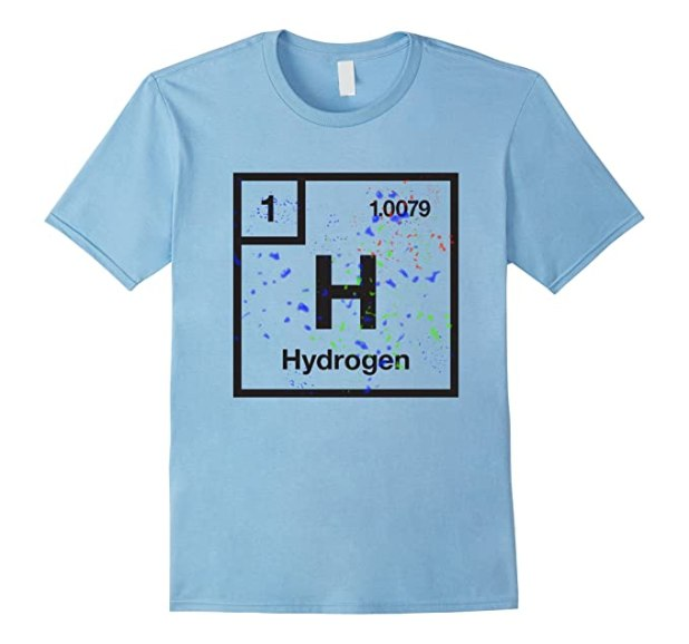 Mens Science Tees Periodic Table Element Hydrogen T Shirt 2xl Baby Blue