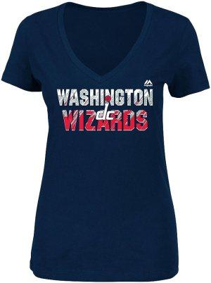 NBA Washington Wizards Women's Get Aggressive Short Sleeve V-Neck Tee, Large, Athletic Navy