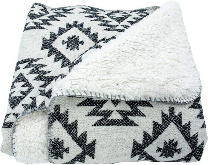 Shearling Southwest (Black & White) Aztec Soft Throw Blanket