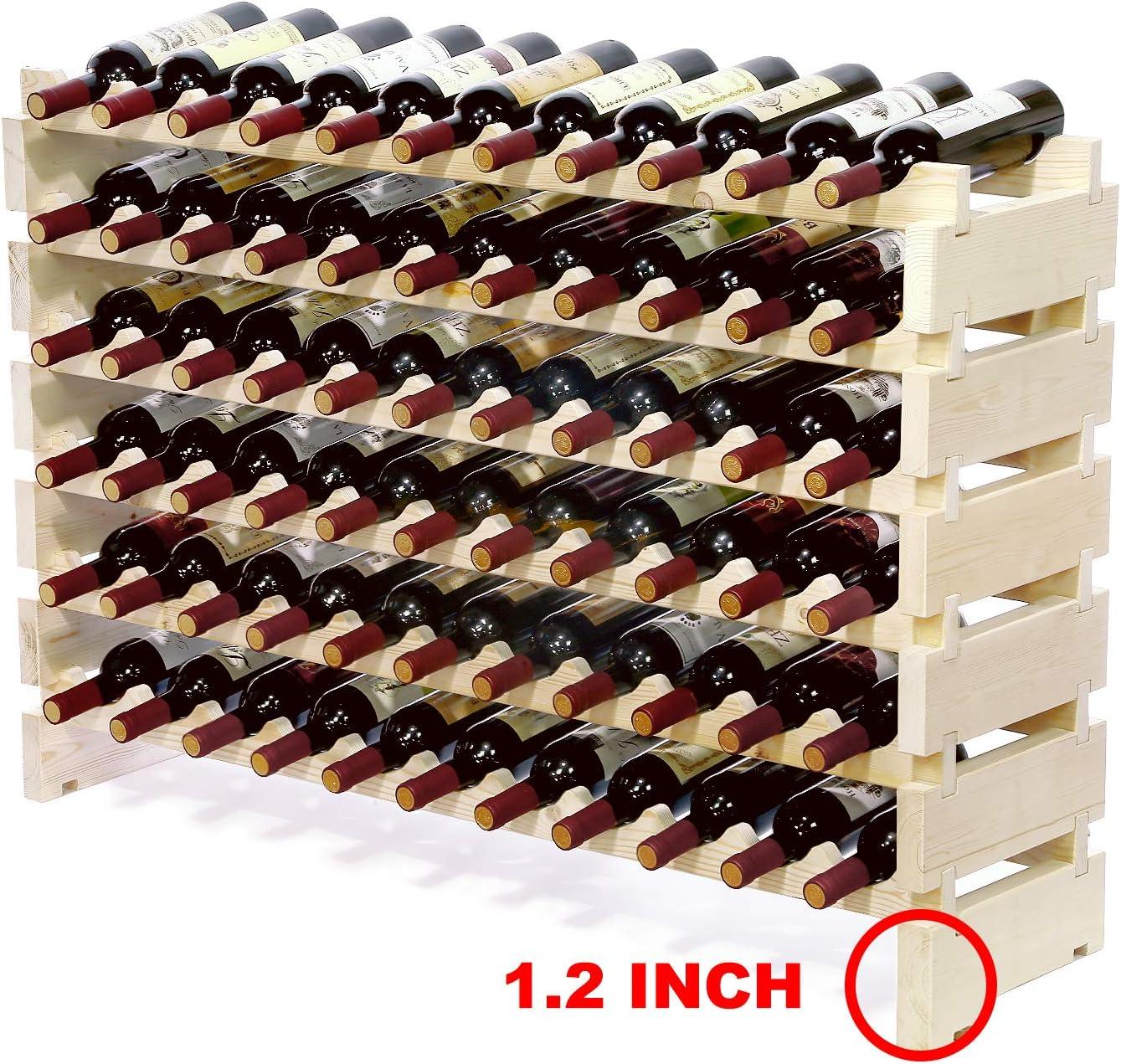 Amazon Com Bonusall 66 Bottle Stackable Modular Wine Rack Large Wine Storage Rack Free Standing Solid Natural Wood Wine Holder Display Shelves Wobble Free Six Tier 66 Bottle Capacity Garden Outdoor