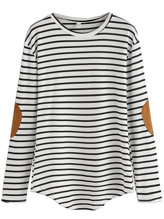 Milumia Women's Elbow Patch Striped High Low Top T-shirt (Medium, Black-2 and White)