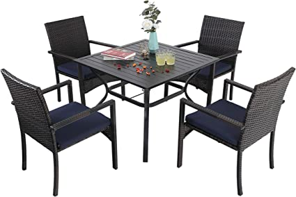Amazon Com Sophia William Outdoor Patio 5 Pieces Dining Set With 4 Brown Pe Rattan Chairs And 1 Square Metal Table Modern Outdoor Dining Furniture With Seat Cushions For Poolside Porch Patio