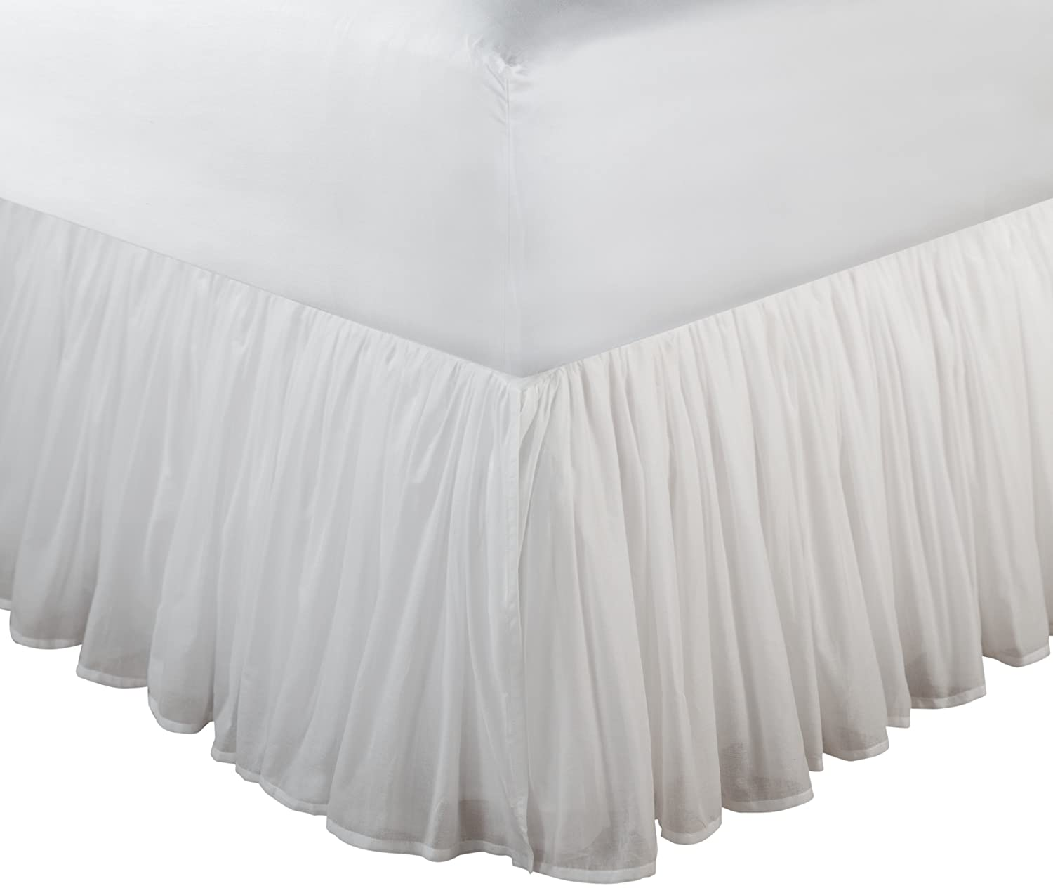 Greenland Home Fashions Cotton Voile 18 Inch White Bed Skirt Queen Amazon Co Uk Kitchen Home