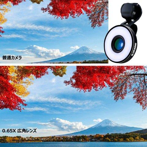 N.ORANIE スマホ用カメラレンズ 魚眼レンズ LEDレンズ 0.65 X 広角レンズ 10 X マクロレンズ ワイドレンズ クリップレンズ 自撮りレンズ 三段フィルイン 全機種対応 USBケーブル付き ブラック