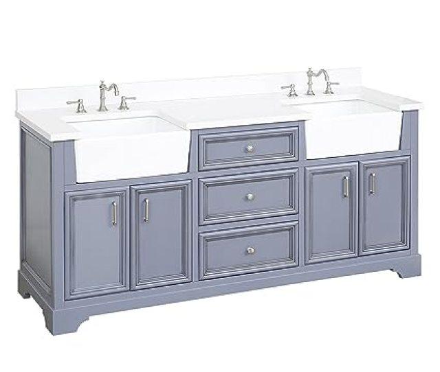 Zelda 72 Inch Double Bathroom Vanity Quartz Powder Gray Includes A