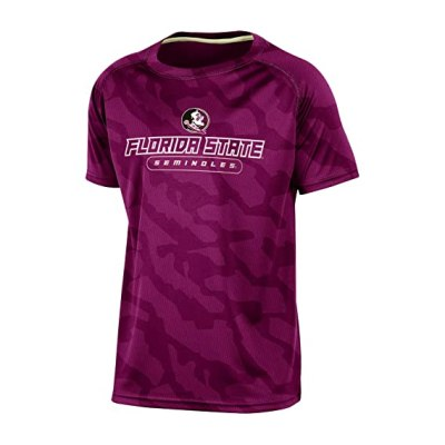 Champion NCAA Florida State Seminoles Boys Short Sleeve Crew Neck Raglan Synthetic T-Shirt, Garnet, X-Large