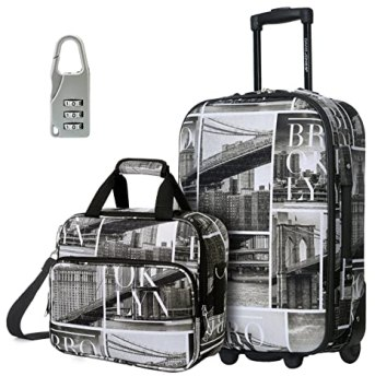 DAVIDJONES Upright Carry-on & Travel case Luggage Set, 2 Piece - BROOKLYN (BA-1001-2PV-BROOKLYN)